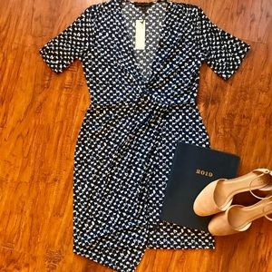 NWT Printed asymmetrical wrap dress